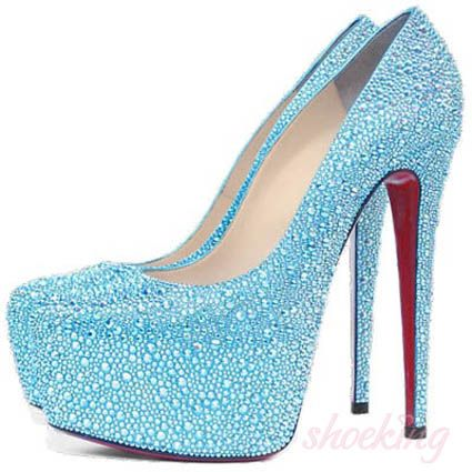 Daffodile Strass 160mm Light Blue High Heel Shoes | Pumps in my ...
