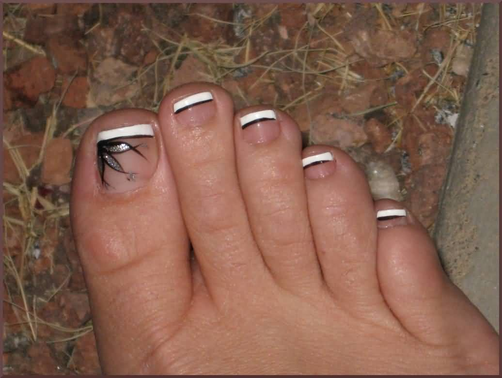 French pedicure with black design   Nails   Pinterest   French ...
