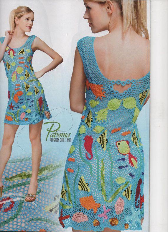 Ähnliche Artikel wie Duplet 137 buchen Juli 2012 russische Crochet Patterns irische Spitze Kleider, Tops-Badeanzug-Magazin auf Etsy #irishlace