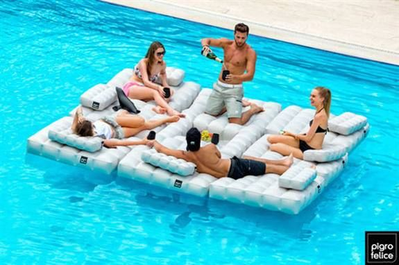 Inflatable Pool Furniture From Pigro Felice Doubles As Patio Furniture, As  Well.