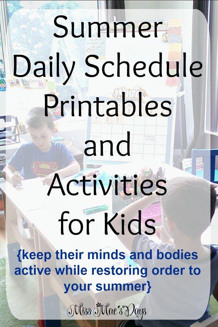 school daily schedule printable