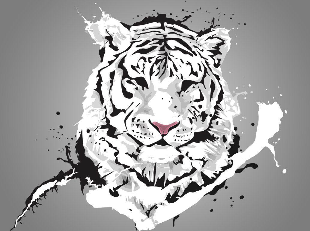 White Tiger Vector Heart Filled Of Art Tiger Wallpaper Tiger