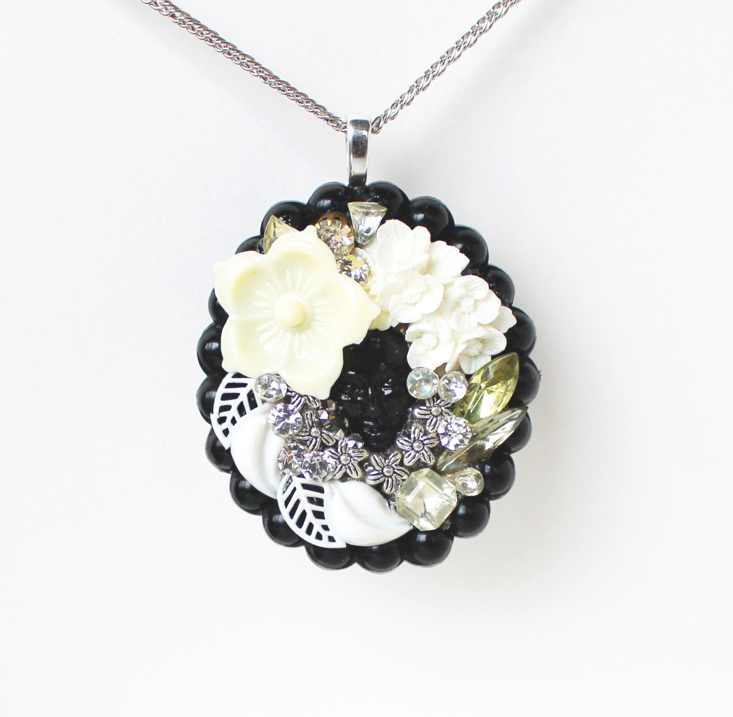 Black face white ivory cream and silver flower by bunnyboutique