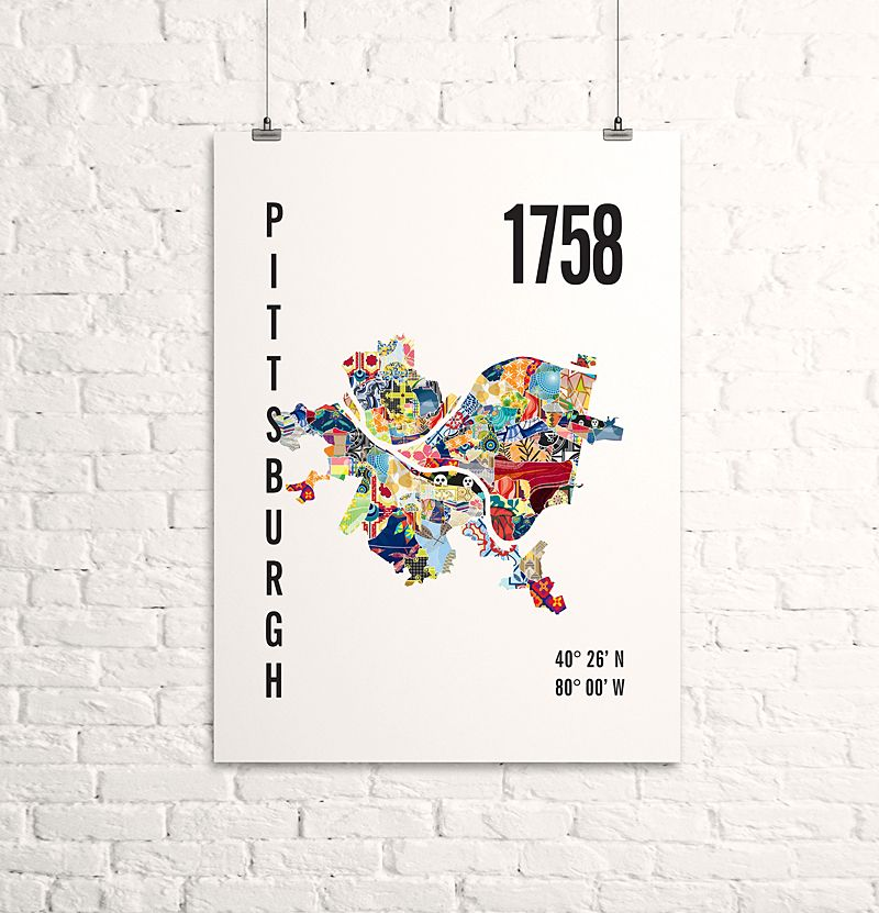 Pittsburgh, PA Artwork: Map Print | *Local ID | South Hills, PA ...
