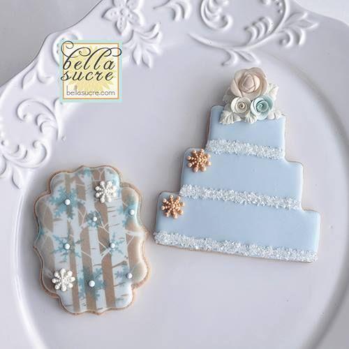 "Bella Sucre / forest stencil ""wintery"" wedding cookies"