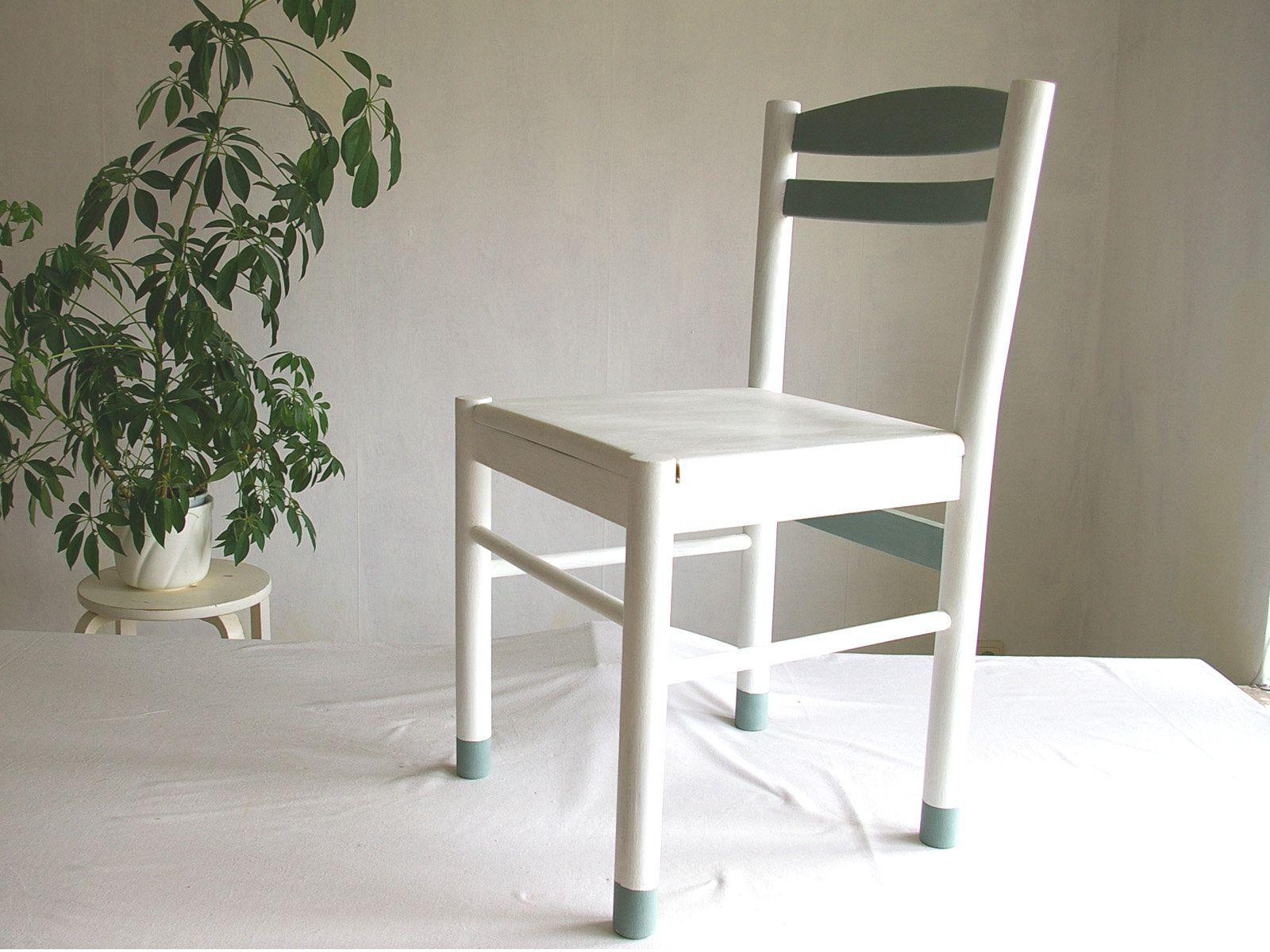 Stuhl Holzstuhl Lehnstuhl Weiß Mit Grau Küchenstuhl