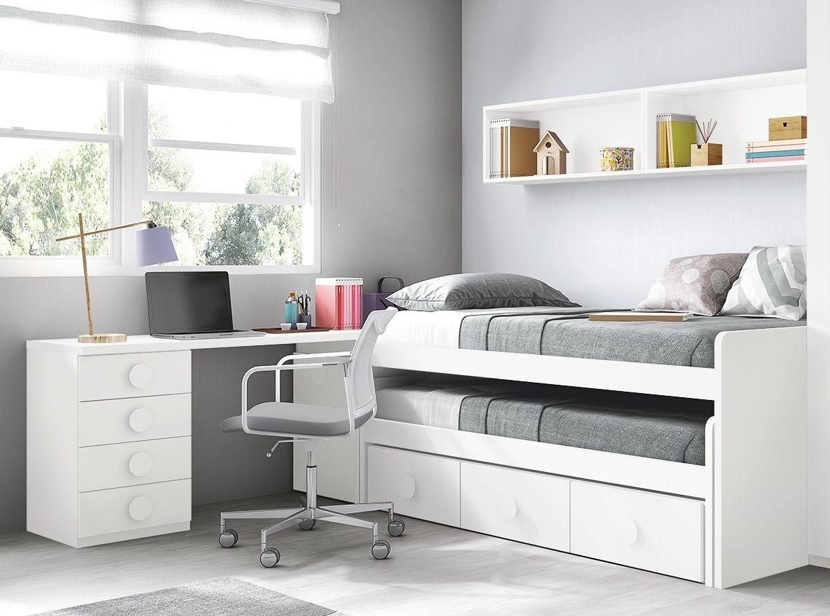 Dormitorio juvenil con 2 camas y zona de estudio Ms