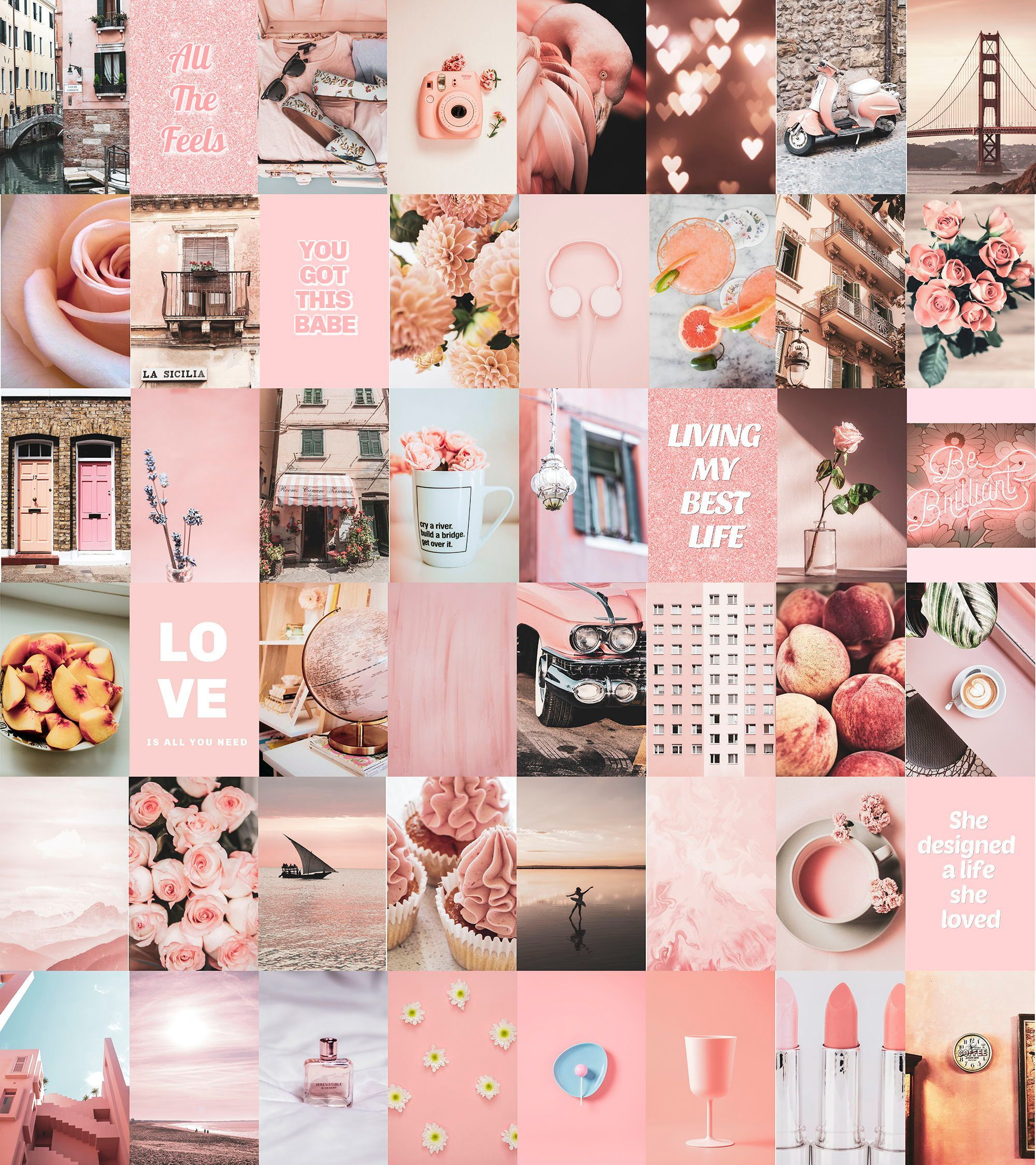 Peachy Pink Vsco Wall Collage Kit Pink Aesthetic Wall ...