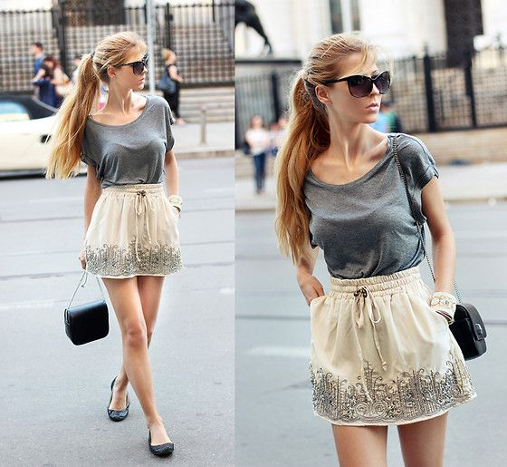 H T Shirt, Pull And Bear Embellished Skirt, Stradivarius Beaded ...