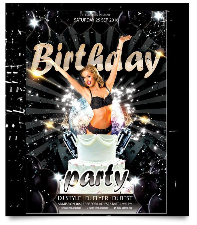 A Collection Of Free Birthday Party Flyer Templates Is Presented Here.