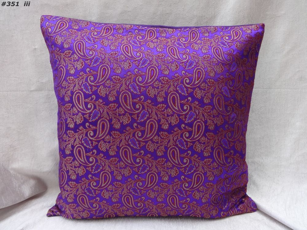 "16"" decorative purple paisley cushion cover pillow cover india brocade #351  #Handmade"