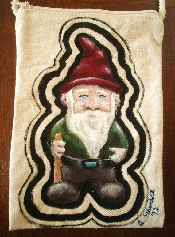 Hand Painted Gnome Pouch Purse by MAGICbyAnnaPanda on Etsy, $22.00