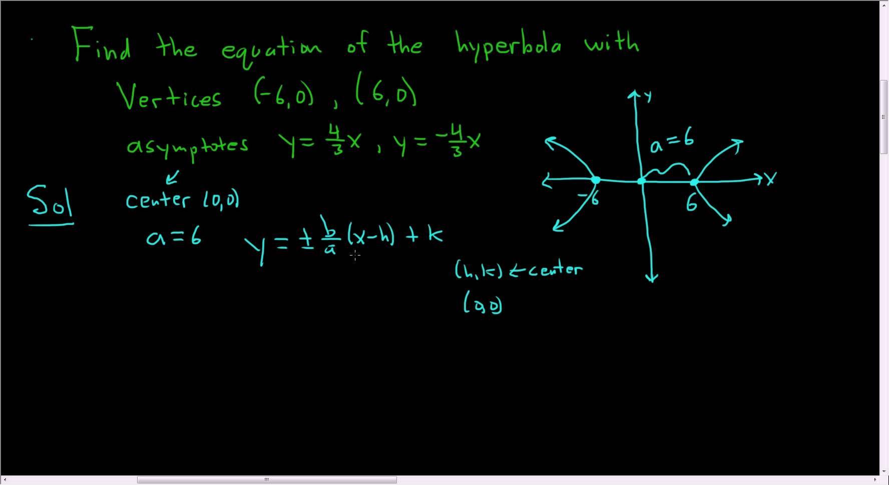 Hyperbola With Vertices 6 0 6 0 And Asymptotes Y 4 3 X Quadratics Math Videos Quadratic Equation