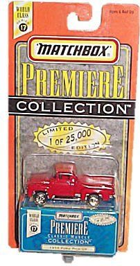Matchbox - Premiere Collection - Limited Edition - World Class Series 17 - Classic Muscle Collection - 1956 Ford Pick-Up (Red) replica w/custom storage box by Mattel Inc....
