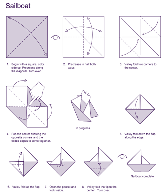 Free Origami Sailboat Paper - Print Your Own! - Pirate and Shark ... | 635x540
