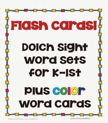 #FREE Sight Word Flash Card Set Plus Color Words! #TPT