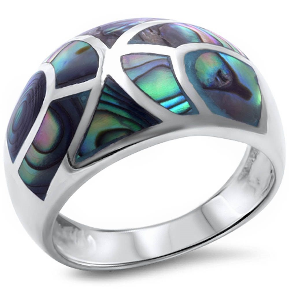 Abalone Ring Solid 925 Sterling Silver Green Abalone Shell Inlay Half Eternity Fashion Trendy Simple Ring Abalone Jewelry