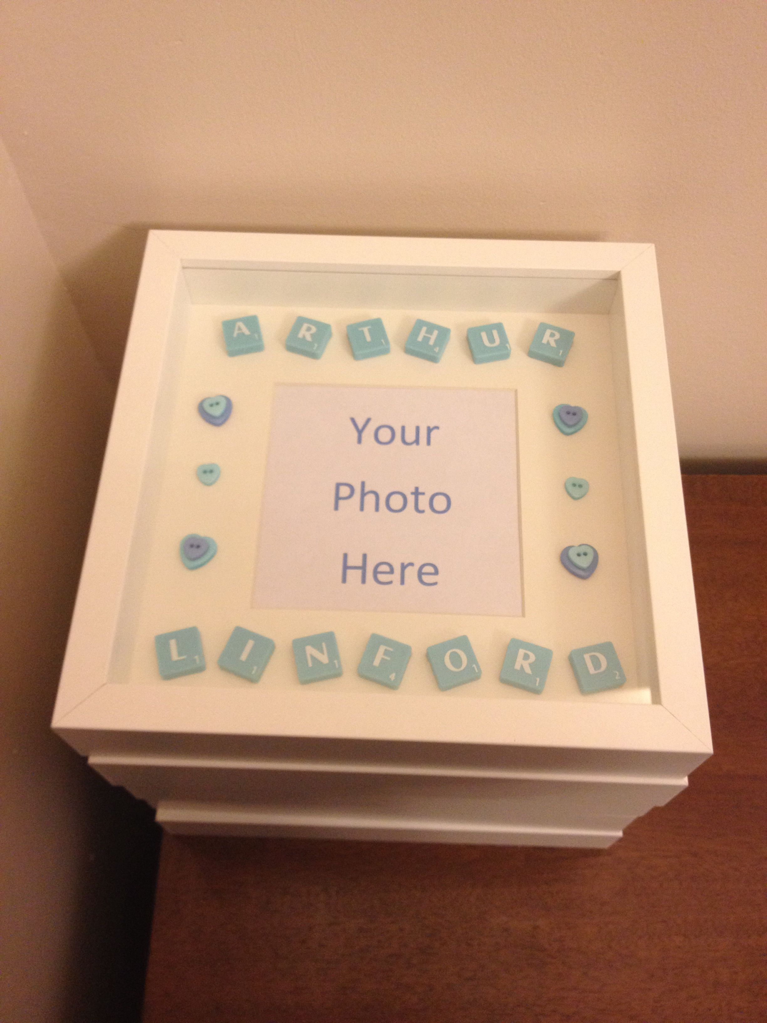 scrabble word art new baby photo frame arts and crafts pinterest