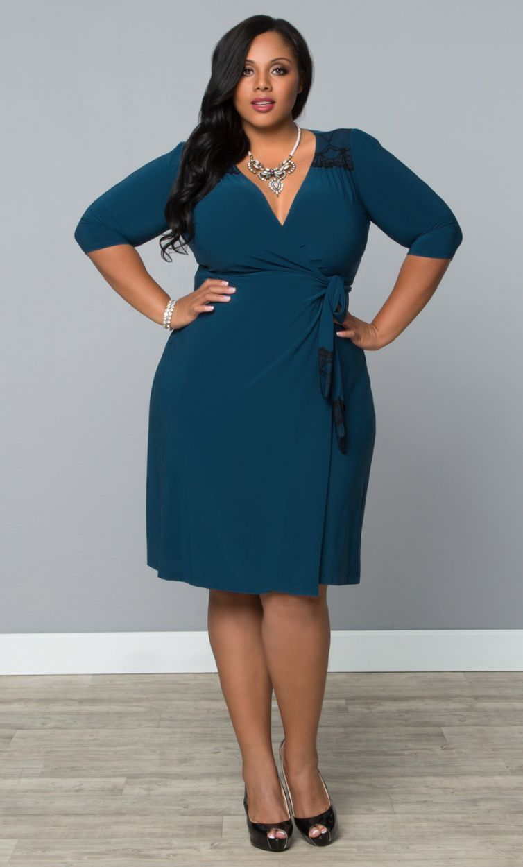 Plus size julieanne wrap dress tealblack plus size dresses