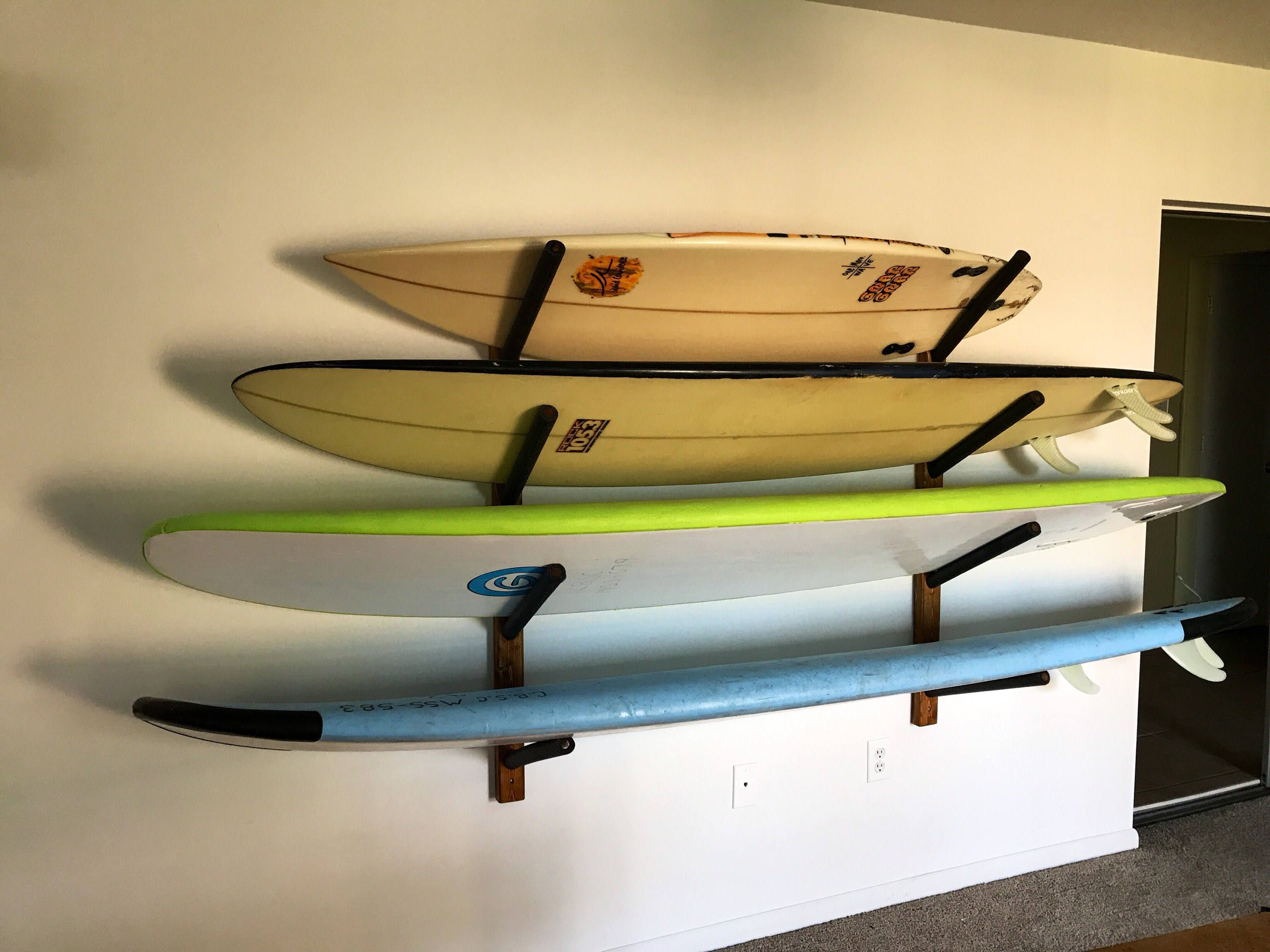 Surfboard Wall Hanger Holds 4+ Surfboards Wood Rack | Wood rack ...