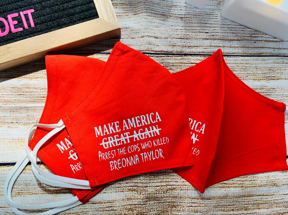 Justice For Breonna Face Mask Maga By Making Them Arrest The Cops Who Killed Breonna Taylor In 2020 Etsy Shop Black Lives Matter Black Business
