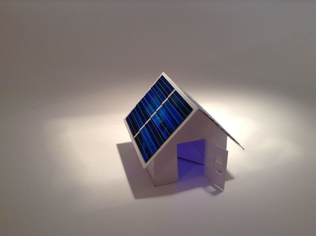 solar powered pop up paper house