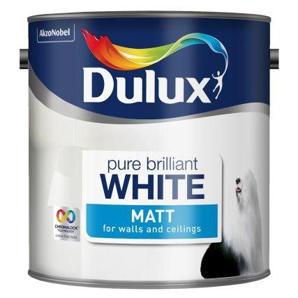 Dulux Matt Emulsion Pure Brilliant White 2 5l Dulux Brilliant White White Bathroom Paint Dulux