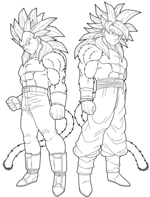 Dragon Ball Vegeta And Goku Transforms Into A Super Saiyan Vegeta Saiyan 4 Coloring Pages