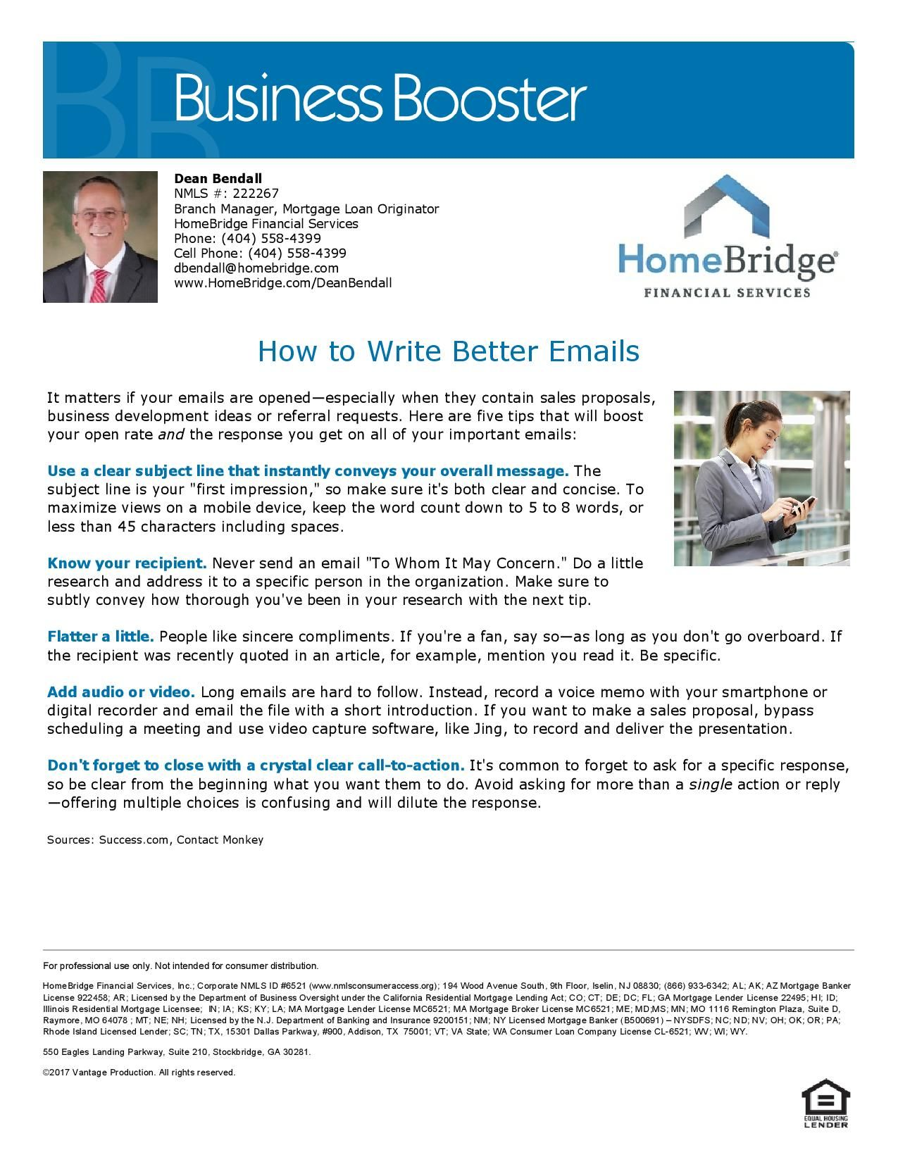 How To Write Better Emails Dean Bendall Mortgage Loan Originator Nmls 222267 Mortgage Loan Originator Mortgage Loans Mortgage Refinance Calculator