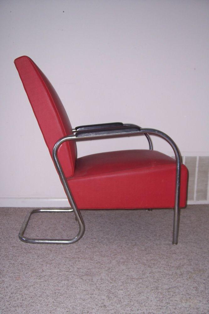 Vintage Chrome Tubed Kem Weber Art Deco Red Vinyl Lounge Chair | Art ...