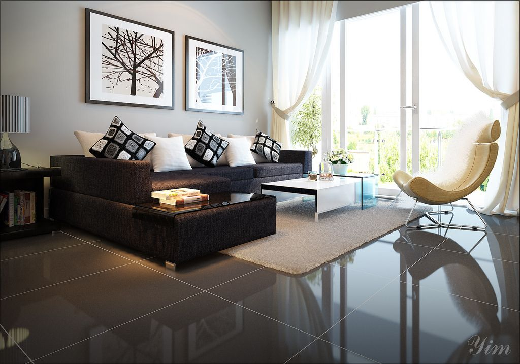 Modern Living Room With A Dark Couch1 Warm And Cozy Rooms Rendered By Yim Lee Photo Minimalist Living Room Rugs In Living Room Contemporary Living Room Design