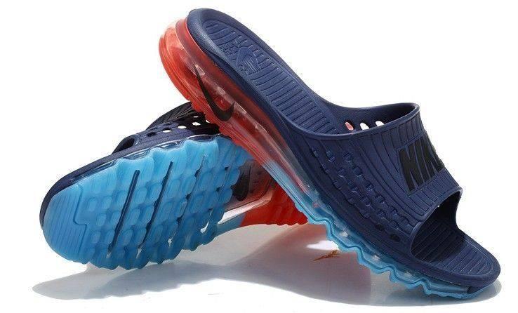Nike Air Max Sandals 2015 Mens Navy Blue Orange Blue