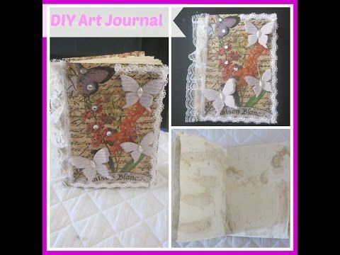 How to make a Handmade mini journal using glue binding / Mini Handmade Journals, Smash Books - YouTube