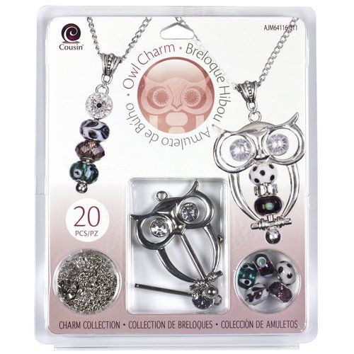 Cousin Charming Owl Charm Jewelry Kit