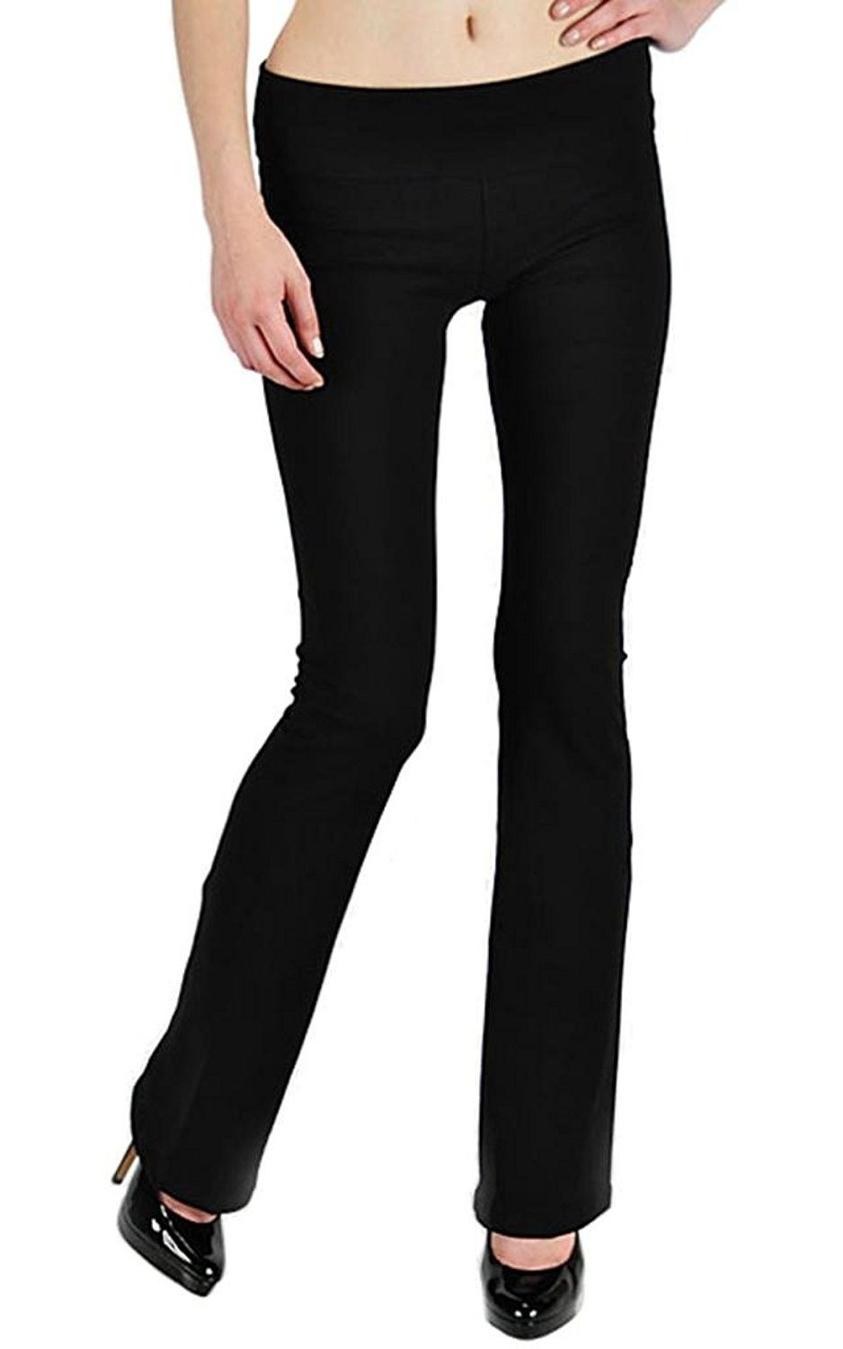 T Party Thick Cotton Yoga Pants With Fold Over Waistband Tall Long Flare Bootcut Legs Not See Through Black C011uq52zch Cotton Yoga Pants Pants Yoga Pants Fashion