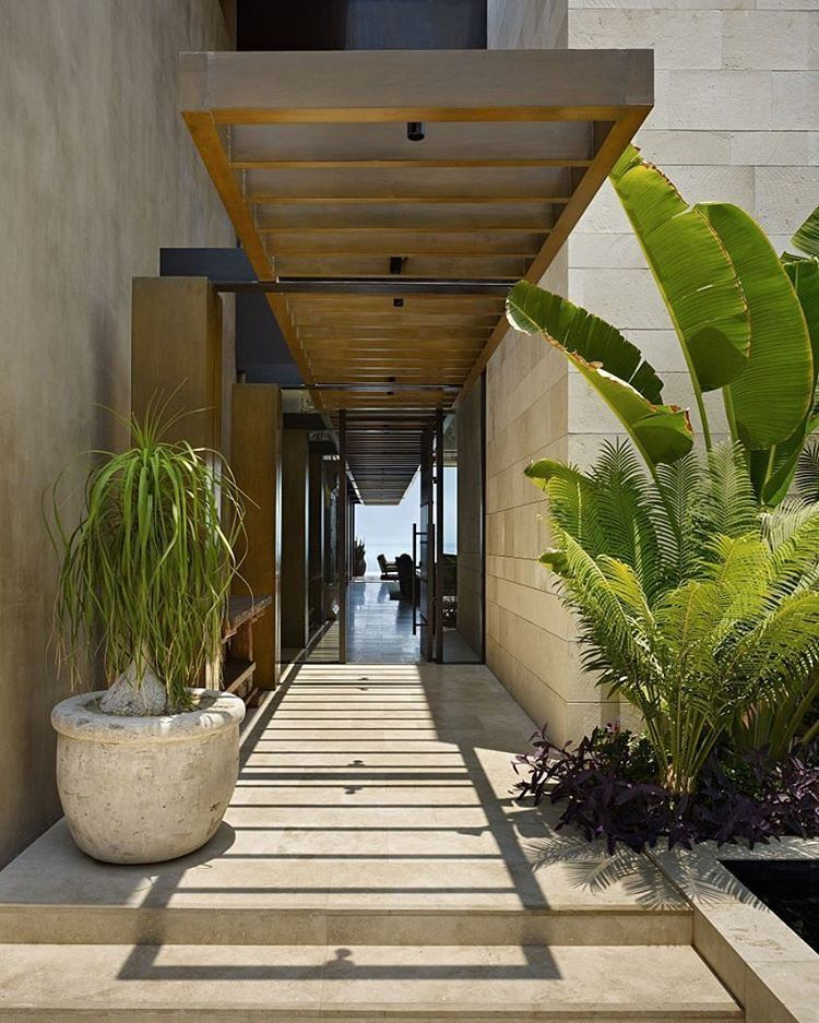 Summer Style Wonderful Long Covered Walkway Terrace Path A Modern Contemporary Outdoor Entry Or Glass Front Entrance Design Exterior Design House Exterior