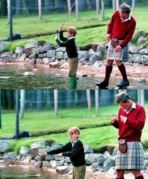 Harry Fishing with his Dad Prince Charles...oops did he lose a worm!