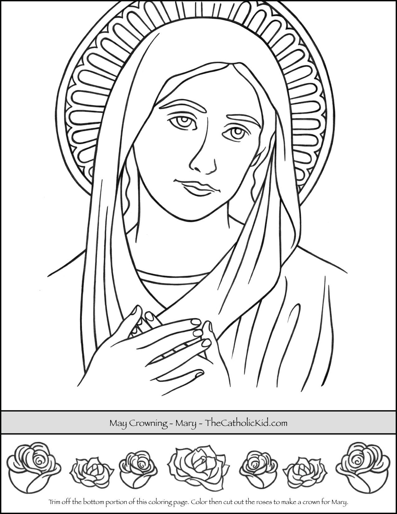 May Crowning Coloring Page Sunday School Coloring Pages Coloring Pages Bible Coloring Pages