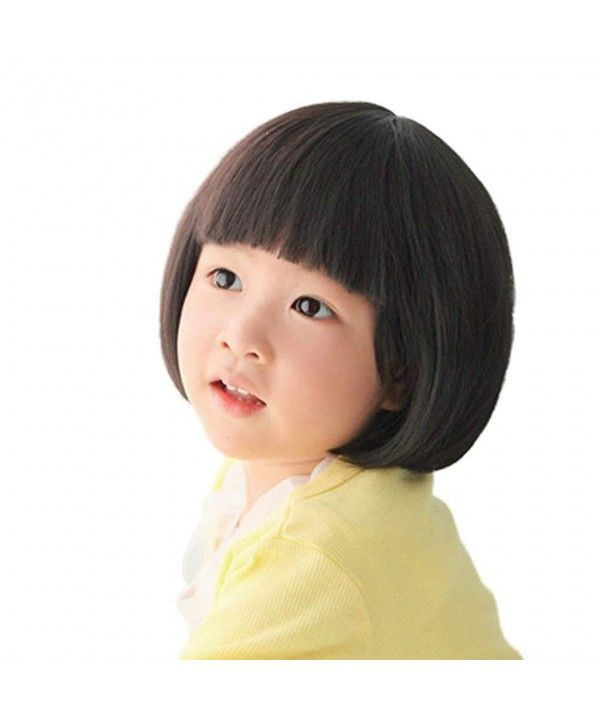 Fashion Black Straight Wigs for Kids Child Flat Bangs Synthetic BOB Cosplay  Wig - CI126425M7P 3ef4a5eb8
