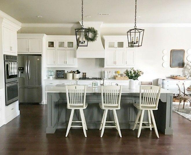 Gray Island White Perimeter Cabs Farmhouse Style Kitchen Kitchen Layout Kitchen Remodel
