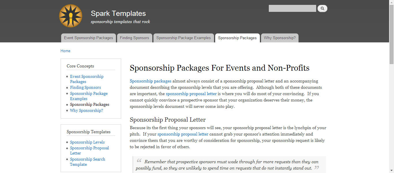 Sponsorship Packages for Events and NonProfits