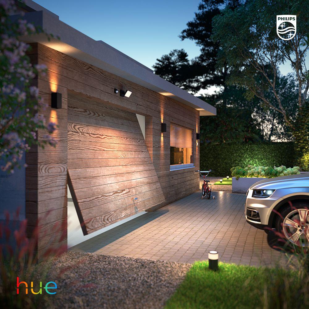 Driveway And Garage Lighting Ideas Philips Hue Smart Outdoor Lighting Outdoor Security Lights Garage Lighting
