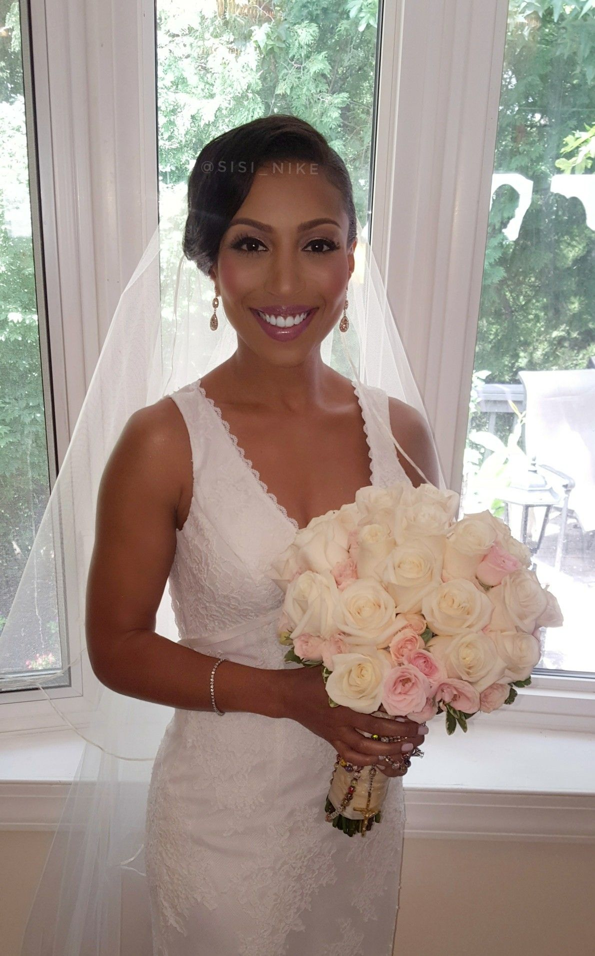 Natural bridal makeup glam on black/AfricanAmerican bride