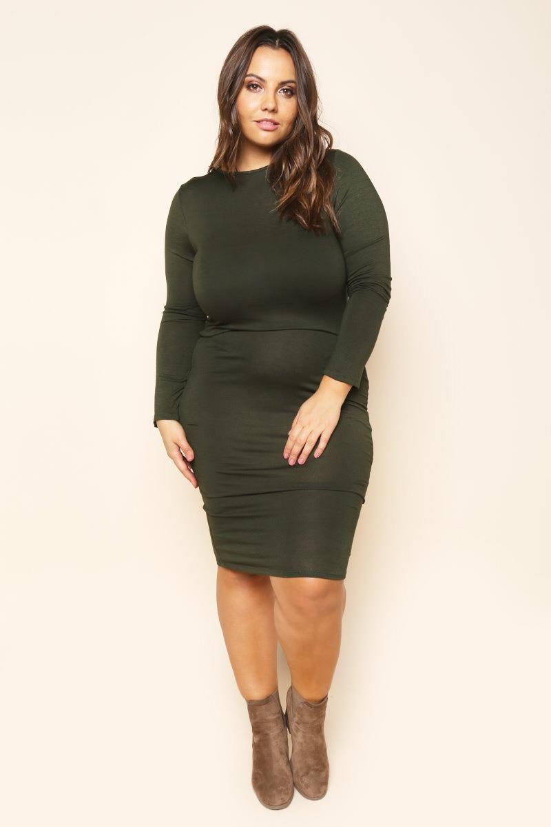 plus size midi long sleeve bodycon dress dresses+ gs-love | lovely