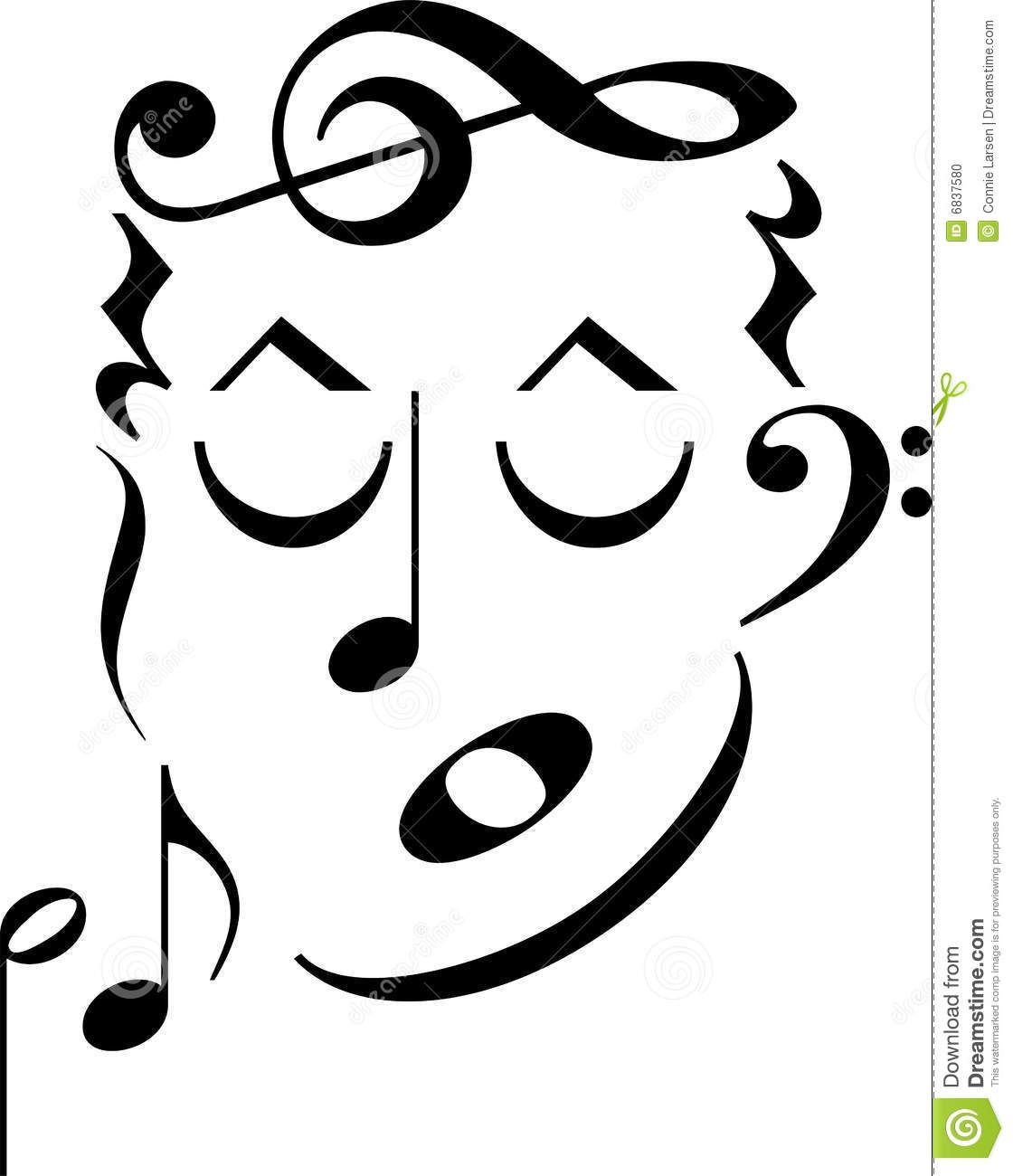 Music Symbols Clip Art Cartoon Mans Face Made Up Of Musical Notes