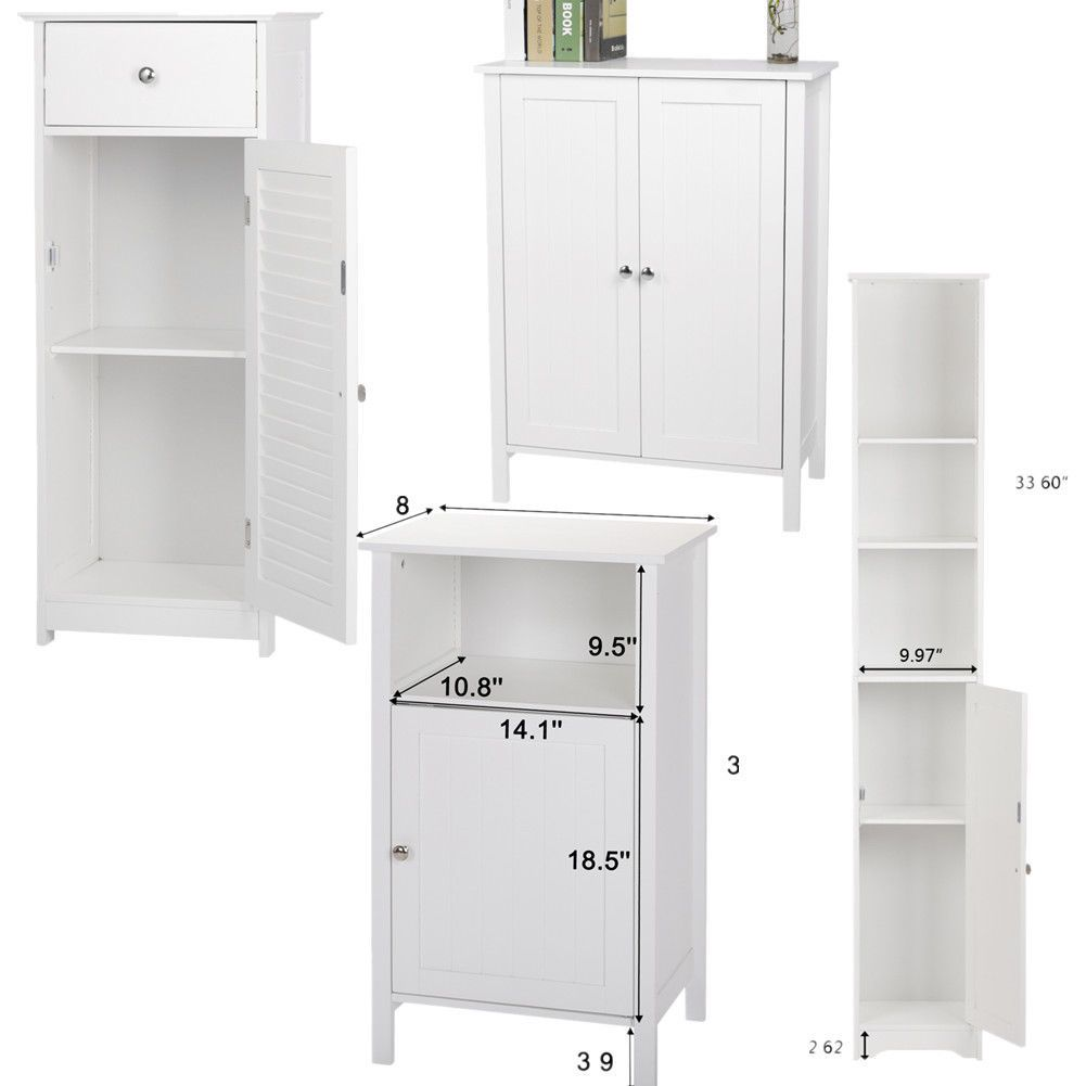 White Storage Bathroom Floor Cabinet Organizer Drawer Rack Shelf Space Saving Us Ebay Buy Office Furniture Bathroom Floor Cabinets White Office Furniture