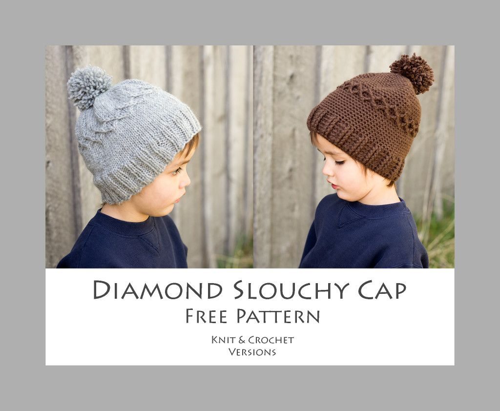 Diamond Slouchy Cap - Free Pattern - Knit and Crochet Versions | If ...