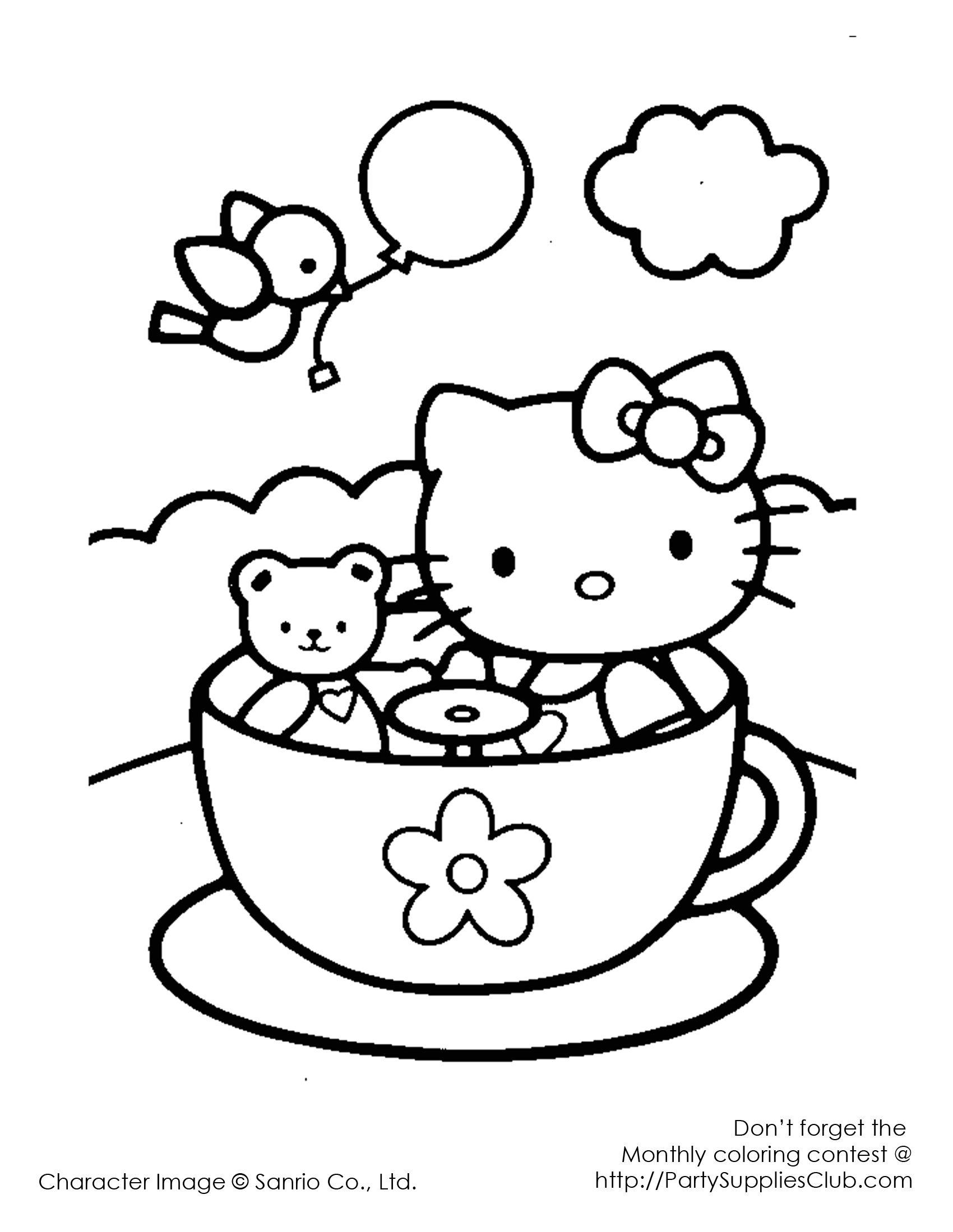 Osito Con Una Taza Para Colorear Busqueda De Google Hello Kitty Colouring Pages Hello Kitty Coloring Kitty Coloring