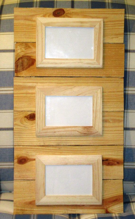 Triple Reclaimed Wood unfinished Frame, holds three 4X6 photos with ...