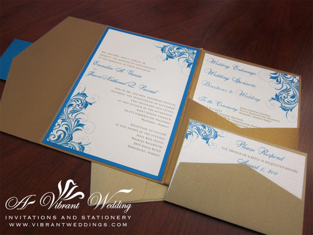 Custom antique gold and blue wedding invitation
